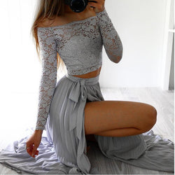 Off Shoulder Lace Long Sleeve Side Split Long Skirt Two Pieces Dress - Oh Yours Fashion - 1