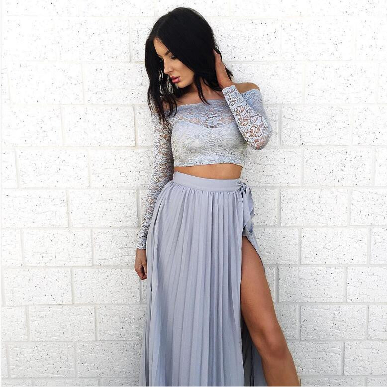 Off Shoulder Lace Long Sleeve Side Split Long Skirt Two Pieces Dress - Oh Yours Fashion - 5
