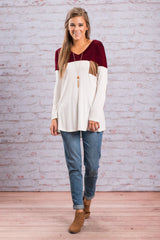 Fashion Contrast Color Long-Sleeve Round Neck Blouse - Oh Yours Fashion - 6