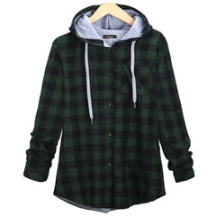 Christmas Plaid Hooded Plus Size Coat - Oh Yours Fashion - 6