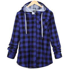 Christmas Plaid Hooded Plus Size Coat - Oh Yours Fashion - 7