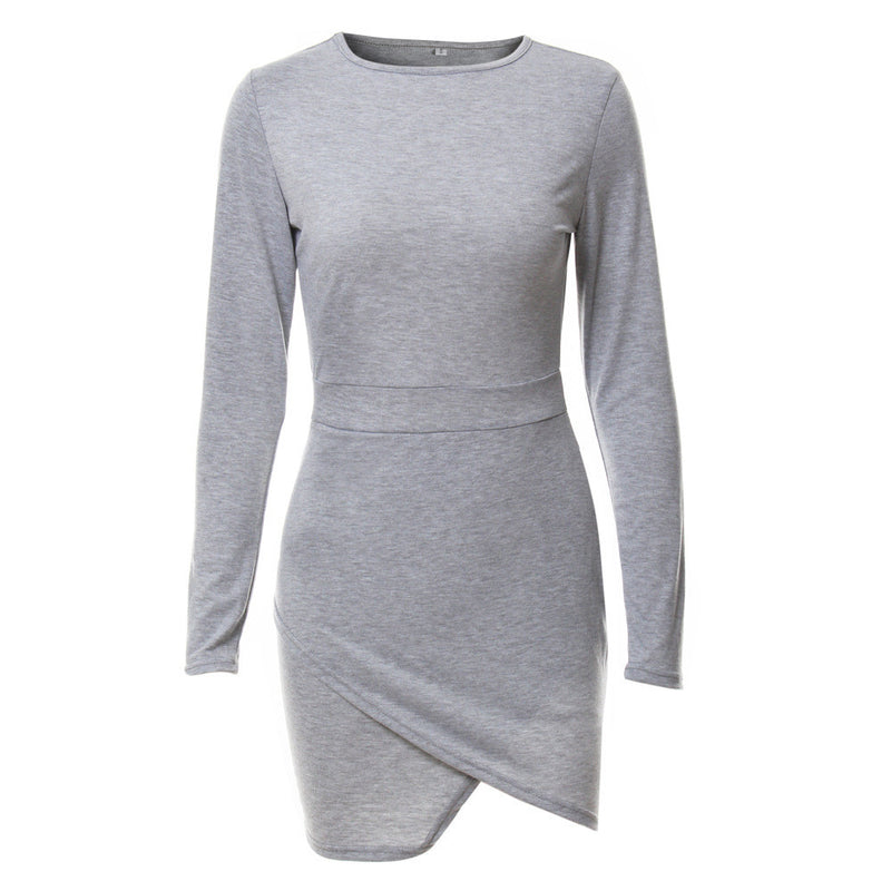 Simple Fashion Long Sleeve Short Irregular Bodycon Dress - Oh Yours Fashion - 9