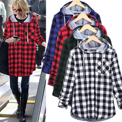 Christmas Plaid Hooded Plus Size Coat - Oh Yours Fashion - 1