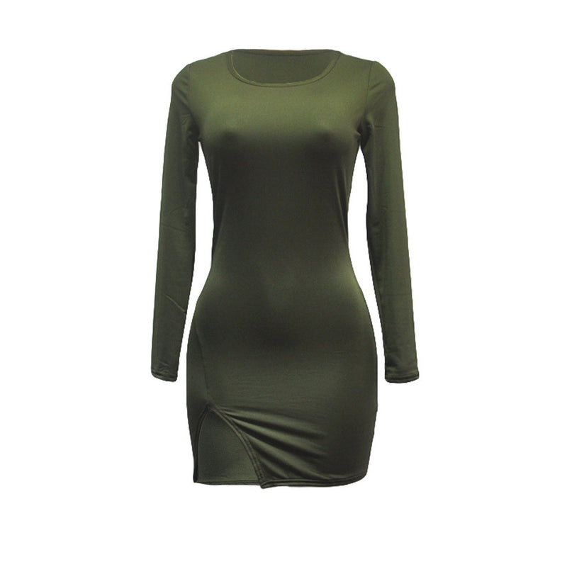 Sexy Side Slit Long Sleeve Scoop Bodycon Short Dress - Oh Yours Fashion - 9