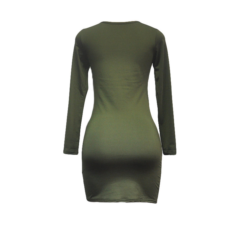 Sexy Side Slit Long Sleeve Scoop Bodycon Short Dress - Oh Yours Fashion - 10