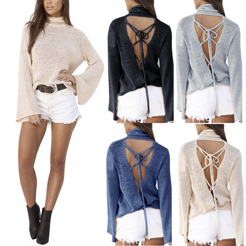Sexy Back Lace Up Batwing High Neck Sweater - Oh Yours Fashion - 1