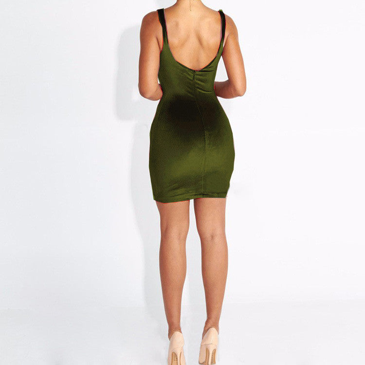 Sexy Spaghetti Strap Velvet Bodycon Short Mini Dress - Oh Yours Fashion - 7