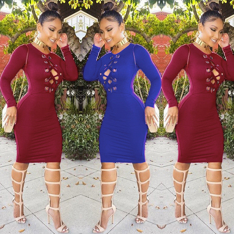 Sexy Long Sleeve High Waist Hollow Out Bodycon Knee-length Dress - Oh Yours Fashion - 3