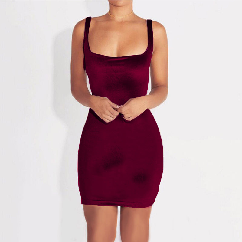 Sexy Spaghetti Strap Velvet Bodycon Short Mini Dress - Oh Yours Fashion - 5
