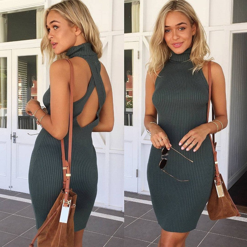 Pure Color Backless Back Cross Bodycon Short Dress