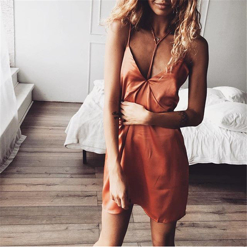 Stitching Backless Wrapped Chest Spaghetti Strap Short Dress - Oh Yours Fashion - 6