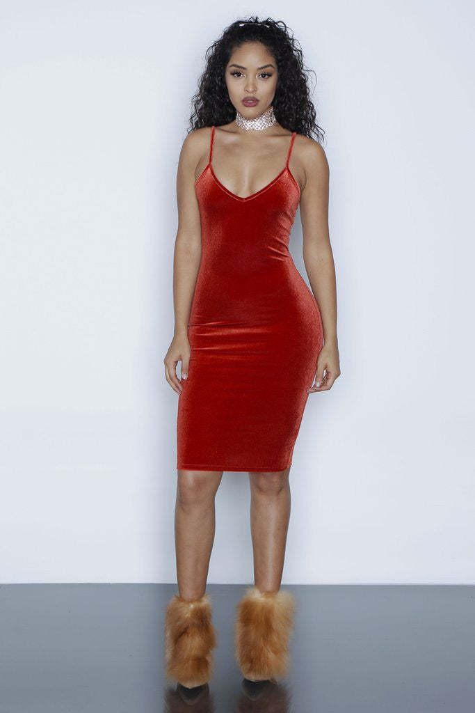 Sexy Spaghetti Strap Velvet Low Cut Bodycon Knee-Length Dress - Oh Yours Fashion - 7