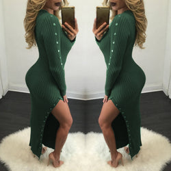 Sexy Scoop High Slit Button Decorate Long Bodycon Dress - Oh Yours Fashion - 1