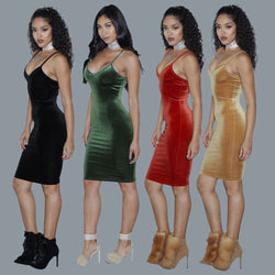 Sexy Spaghetti Strap Velvet Low Cut Bodycon Knee-Length Dress - Oh Yours Fashion - 1