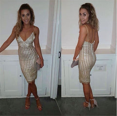 Sequins Spaghetti Strap Stripe Bodycon Knee-Length Dress - Oh Yours Fashion - 4