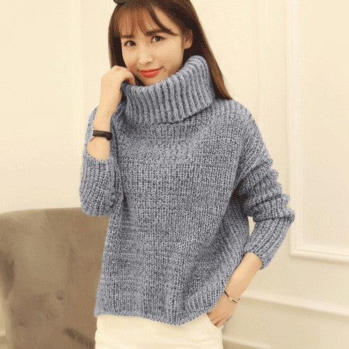 High Neck Knitting Irregular Hem Sweater - Oh Yours Fashion - 1