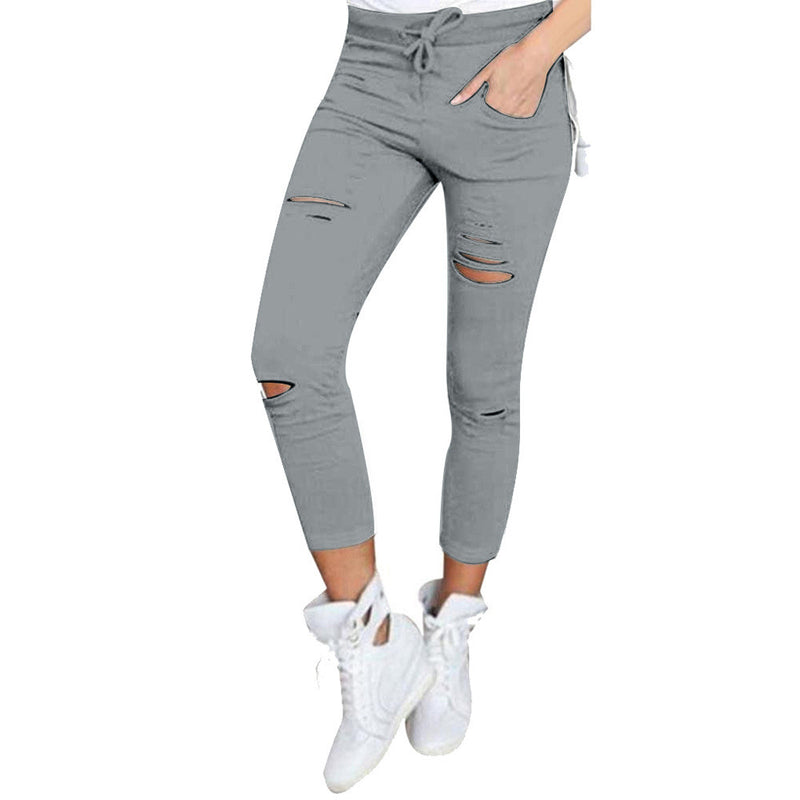 Fashion Ripped Draw String Waist Cotton Pencil Pants - Oh Yours Fashion - 5