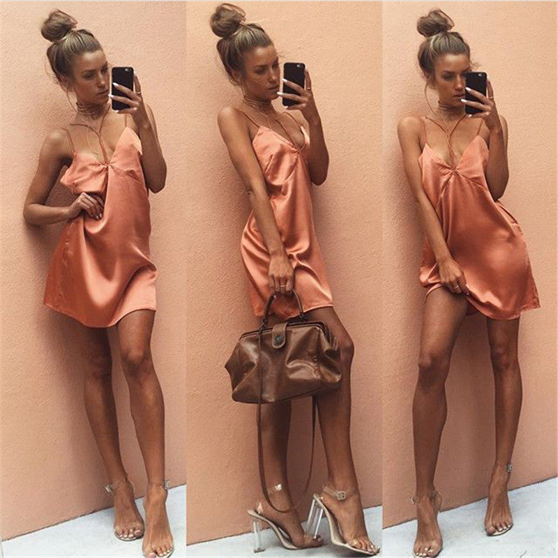 Stitching Backless Wrapped Chest Spaghetti Strap Short Dress - Oh Yours Fashion - 8