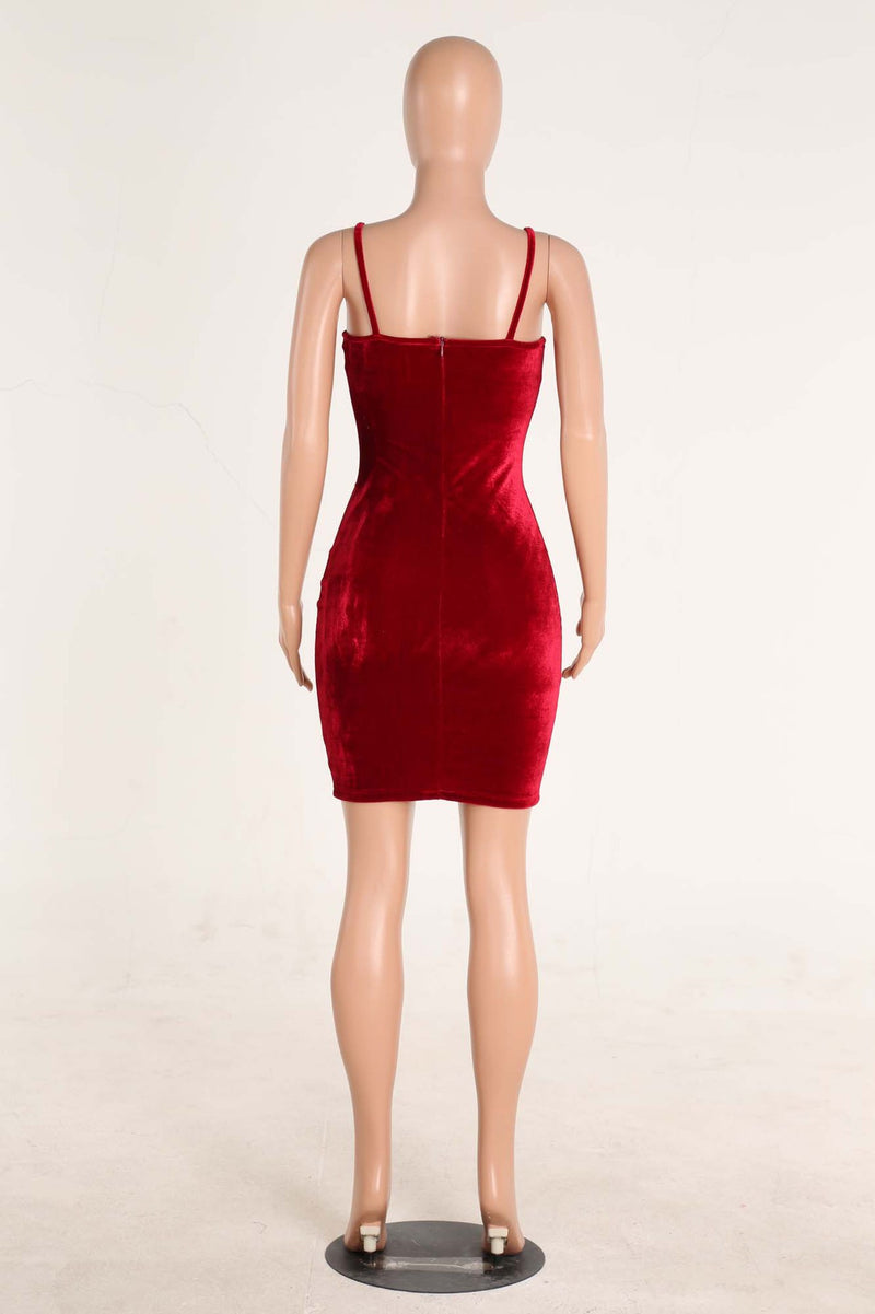 Sexy Spaghetti Strap Velvet Low Cut Bodycon Knee-Length Dress - Oh Yours Fashion - 9