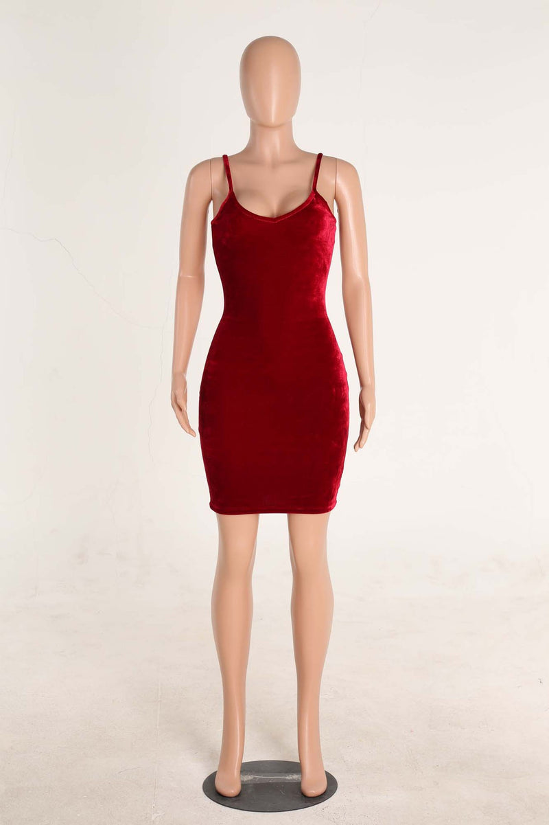 Sexy Spaghetti Strap Velvet Low Cut Bodycon Knee-Length Dress - Oh Yours Fashion - 8