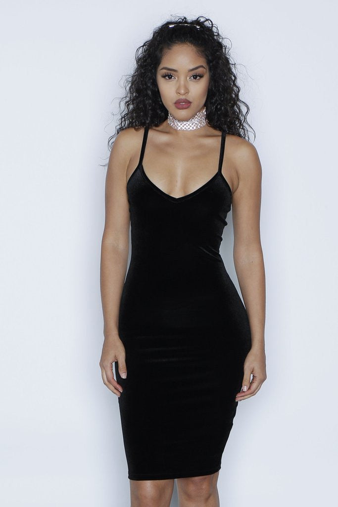 Sexy Spaghetti Strap Velvet Low Cut Bodycon Knee-Length Dress - Oh Yours Fashion - 6