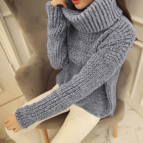 High Neck Knitting Irregular Hem Sweater - Oh Yours Fashion - 5