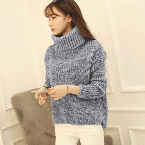 High Neck Knitting Irregular Hem Sweater - Oh Yours Fashion - 8
