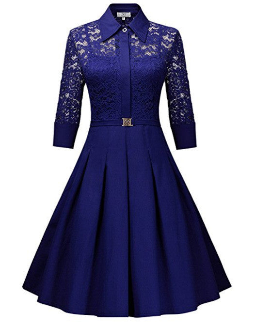 Fashion Lapel Hollow Out 3/4 Sleeve A-Line Knee-Length Dress - Oh Yours Fashion - 7
