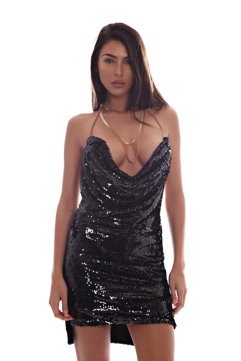 Sequins Halter Backless Short Bodycon Club Dress - Oh Yours Fashion - 11