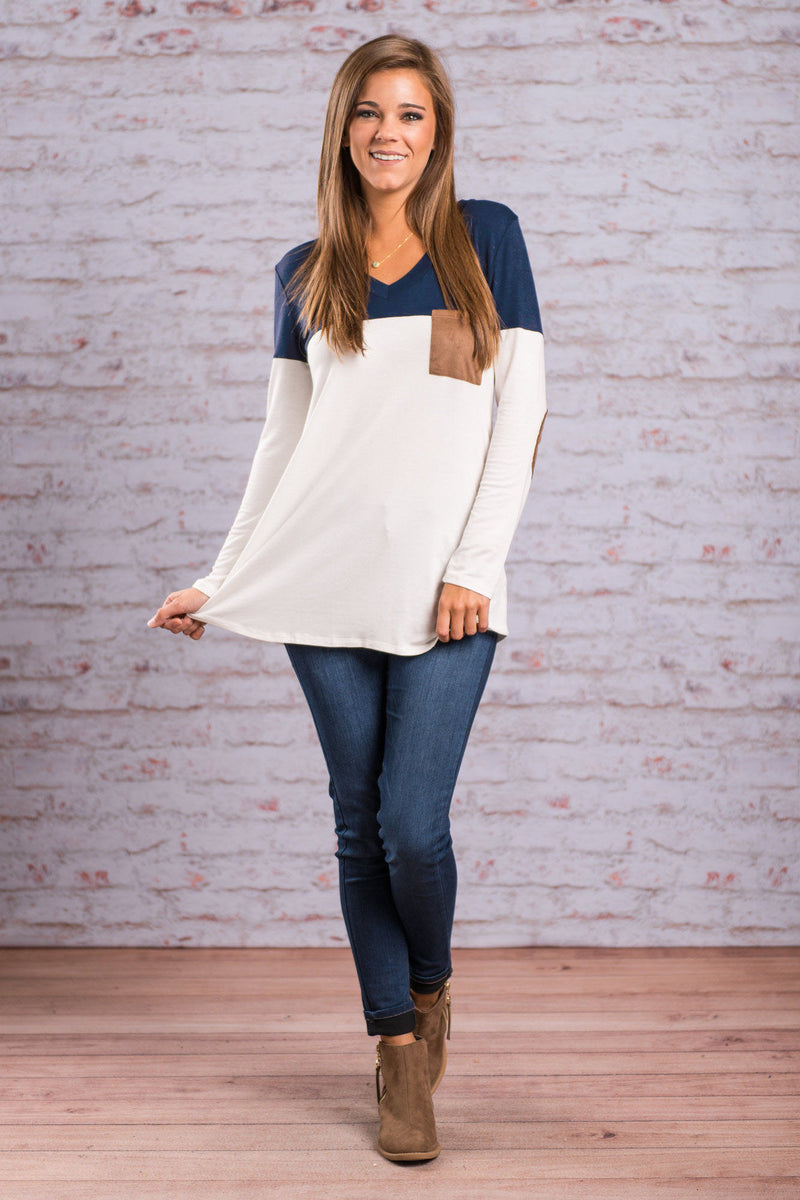 Fashion Contrast Color Long-Sleeve Round Neck Blouse - Oh Yours Fashion - 8