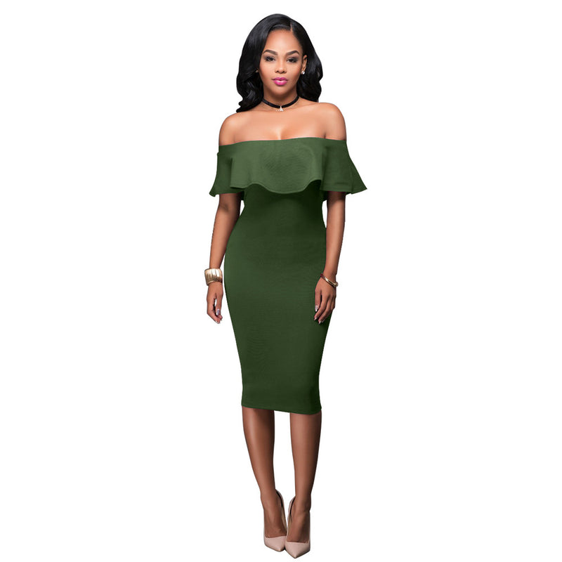 Off the Shoulder Ruffles Solid Color Women Knee-length Dress