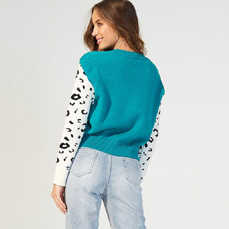 Leopard Pattern Knitting Pullover Woolen Sweater