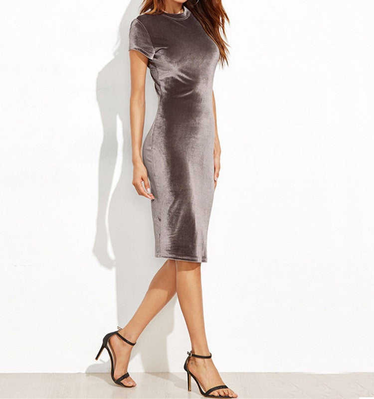 Elegant Pure Color Scoop Bodycon Knee-length Dress - Oh Yours Fashion - 4