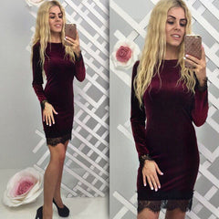 Sexy Fashion Velevet Lace Long Sleeve Bodycon Knee-Length Dress - Oh Yours Fashion - 5
