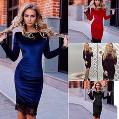 Sexy Fashion Velevet Lace Long Sleeve Bodycon Knee-Length Dress - Oh Yours Fashion - 3