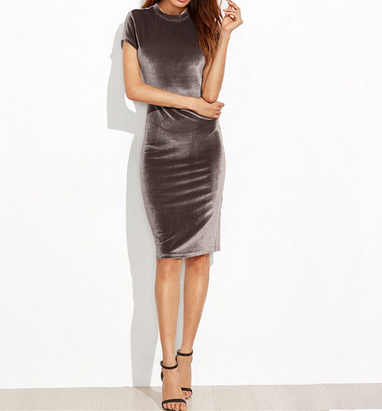 Elegant Pure Color Scoop Bodycon Knee-length Dress - Oh Yours Fashion - 1