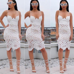Sexy White Spaghetti Strap Hollow Out Lace Patchwork Knee-Length Dress - Oh Yours Fashion - 1