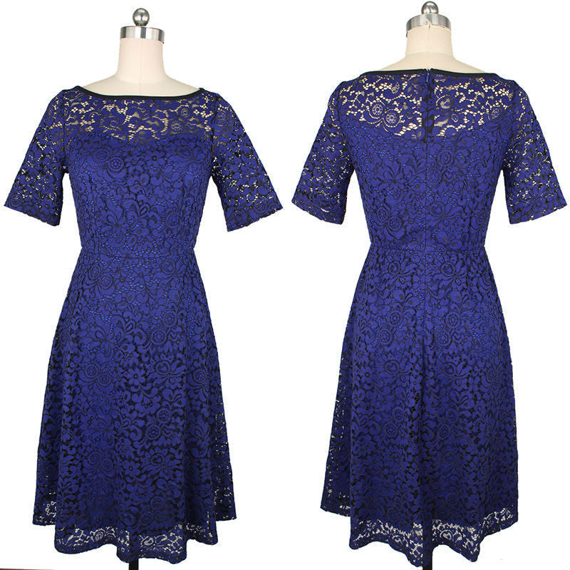 Elegant Floral Lace Short Sleeve Scoop Knee-Length Dress - Oh Yours Fashion - 8