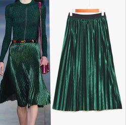 Pleated Glossy Velvet High Waist Long Skirt - Oh Yours Fashion - 2