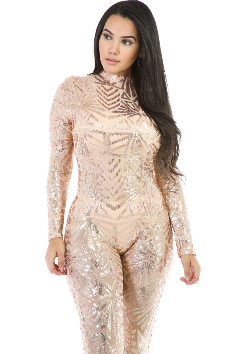 Sequins Long Sleeve High Neck See-Through Club Long Jumpsuit - Oh Yours Fashion - 7
