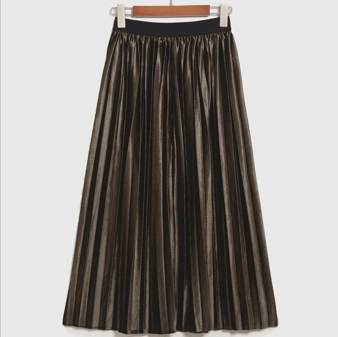 Pleated Glossy Velvet High Waist Long Skirt - Oh Yours Fashion - 5