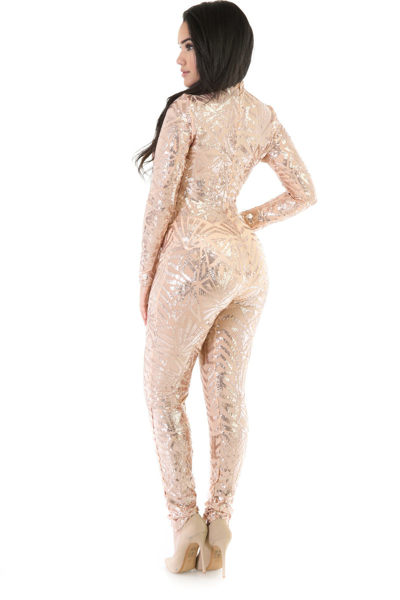 Sequins Long Sleeve High Neck See-Through Club Long Jumpsuit - Oh Yours Fashion - 6