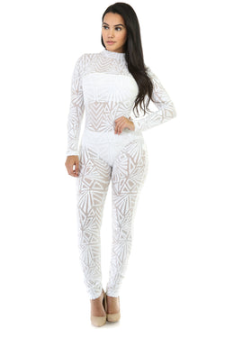 Sequins Long Sleeve High Neck See-Through Club Long Jumpsuit - Oh Yours Fashion - 5