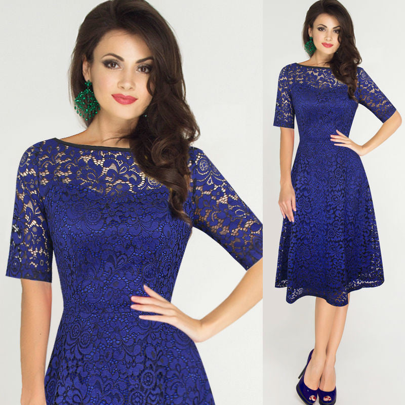 Elegant Floral Lace Short Sleeve Scoop Knee-Length Dress - Oh Yours Fashion - 6