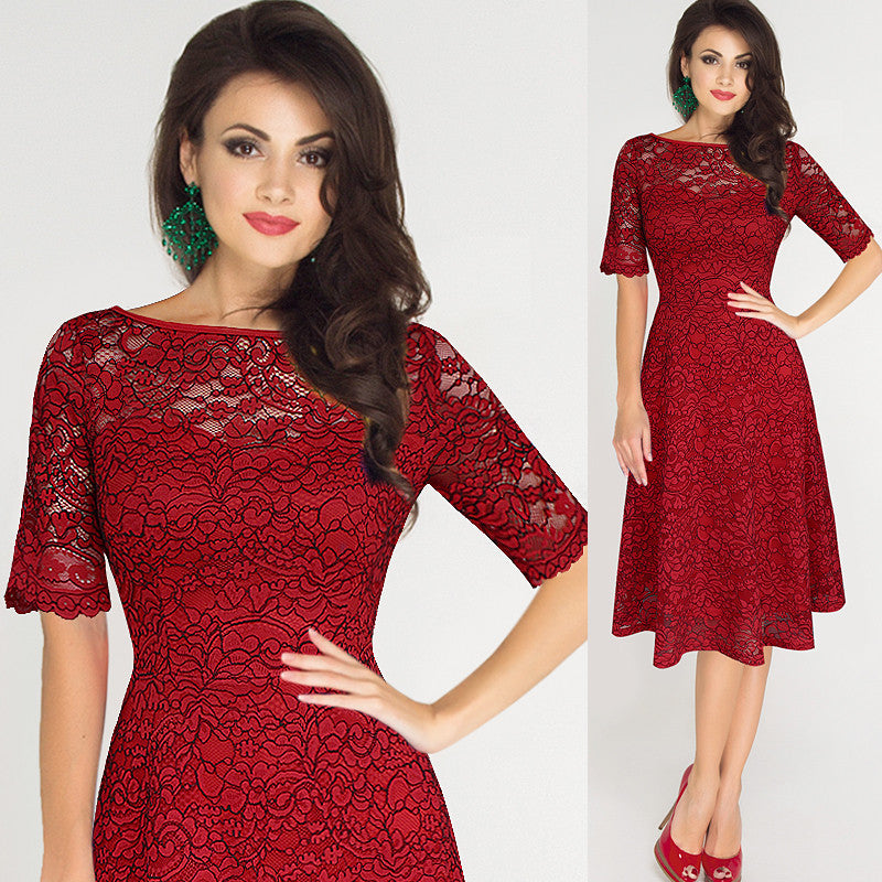 Elegant Floral Lace Short Sleeve Scoop Knee-Length Dress - Oh Yours Fashion - 1