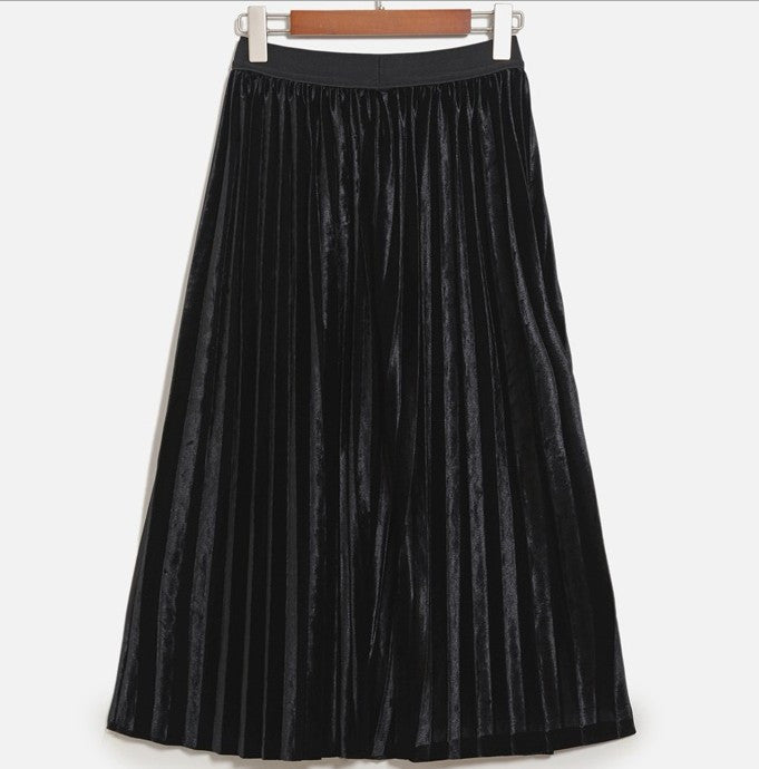 Pleated Glossy Velvet High Waist Long Skirt - Oh Yours Fashion - 3