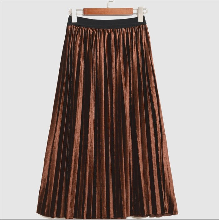 Pleated Glossy Velvet High Waist Long Skirt - Oh Yours Fashion - 6