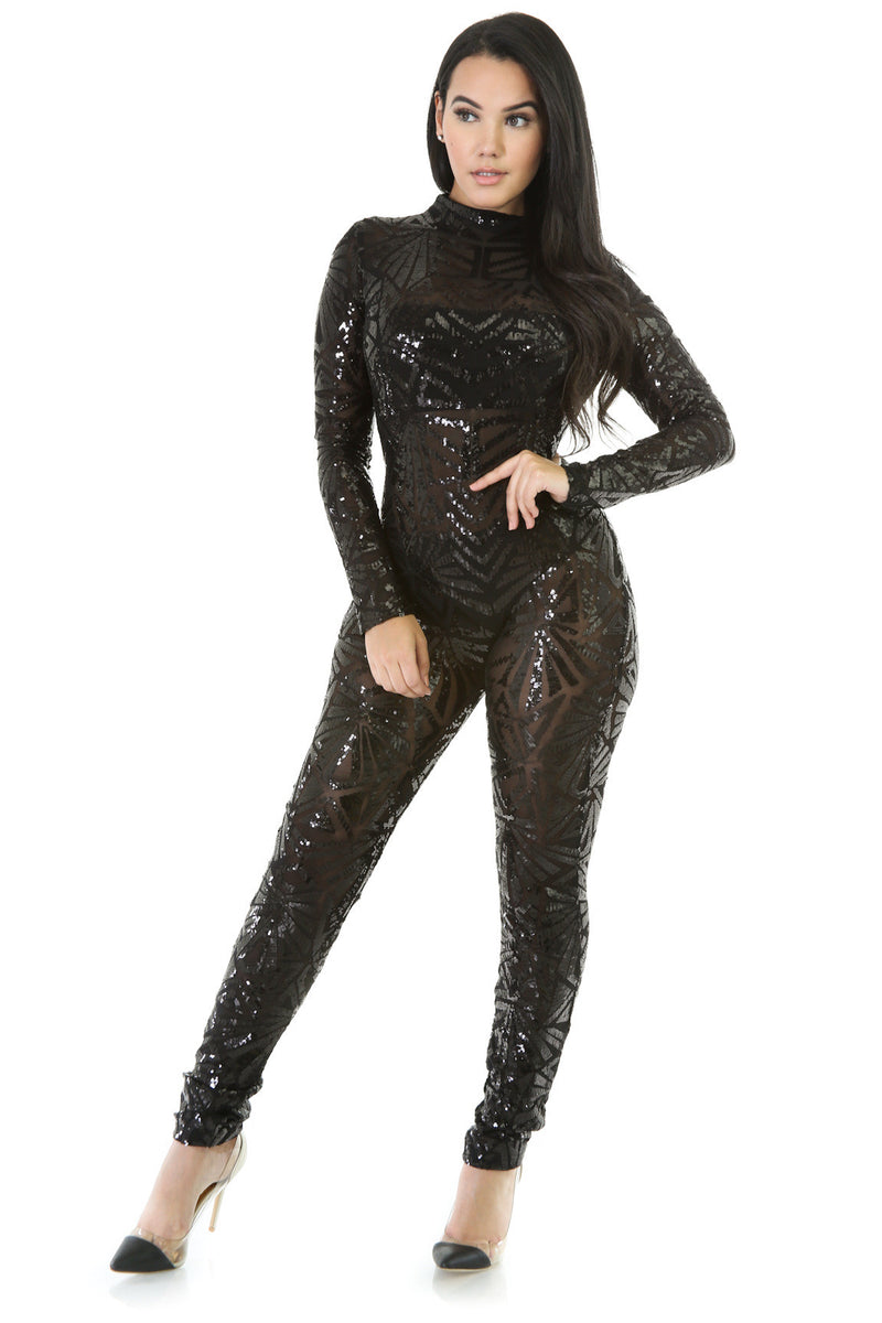 Sequins Long Sleeve High Neck See-Through Club Long Jumpsuit - Oh Yours Fashion - 2