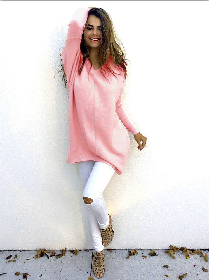 Fashion V-Neck Long-Sleeve Sweater - Oh Yours Fashion - 6