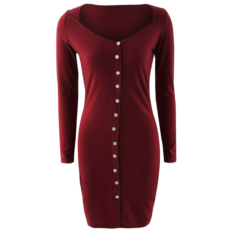 Sexy Front Button Square Neck Short Bodycon Dress - Oh Yours Fashion - 3